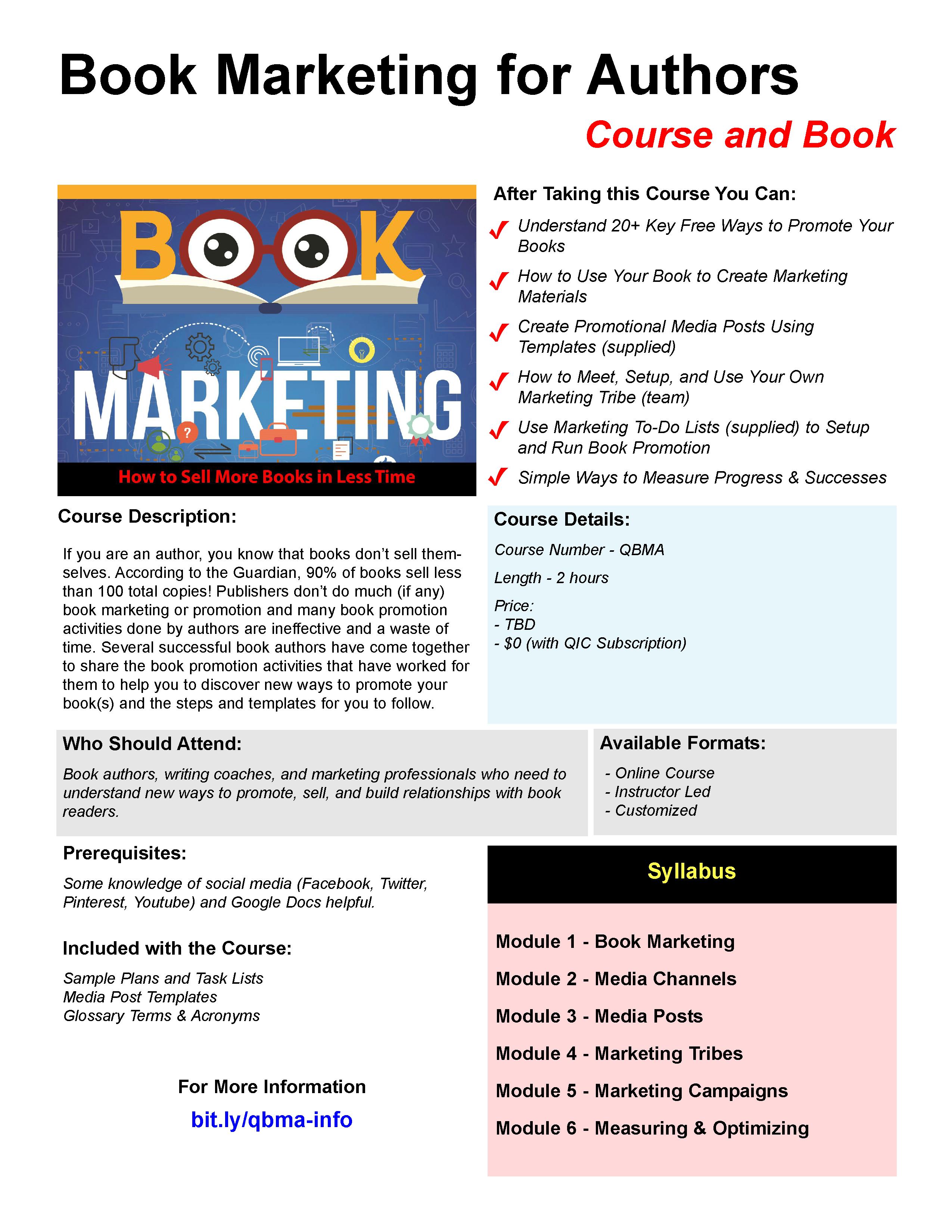 Book Marketing for Authors Course Brochure Page 1