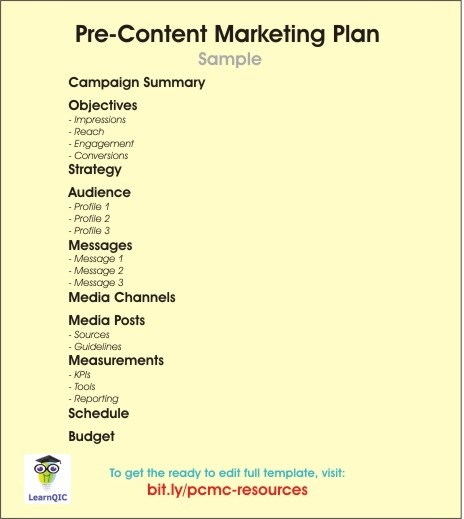 Pre-Content Marketing Plan Sample