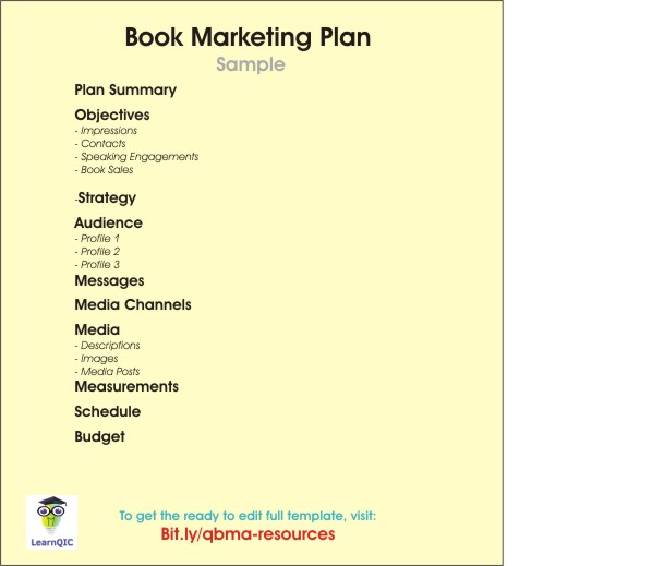 Book Marketing Plan Contents and Template
