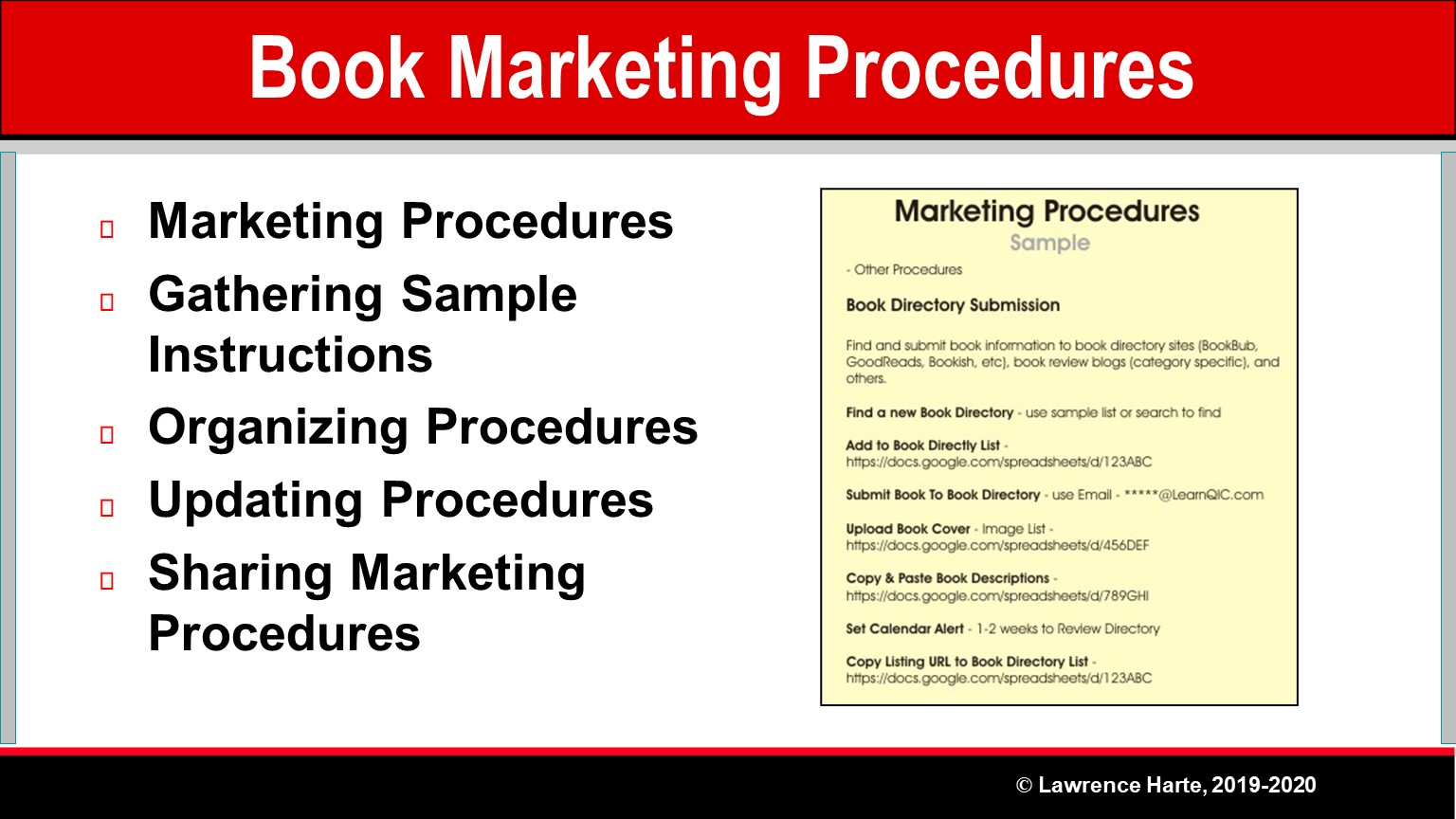 Book Pre-Launch Marketing Procedures
