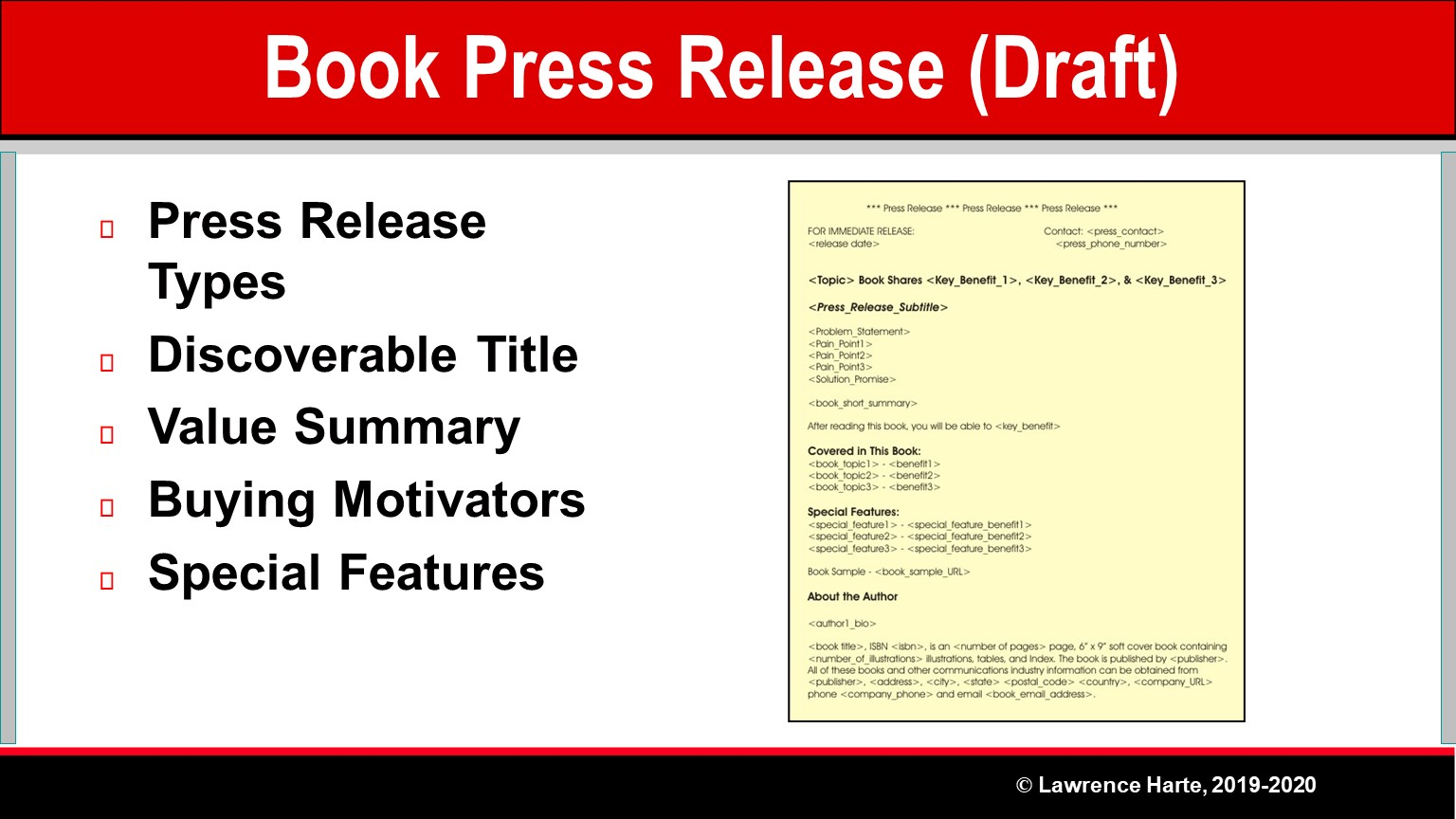 Book Pre-Launch Marketing Draft Press Release