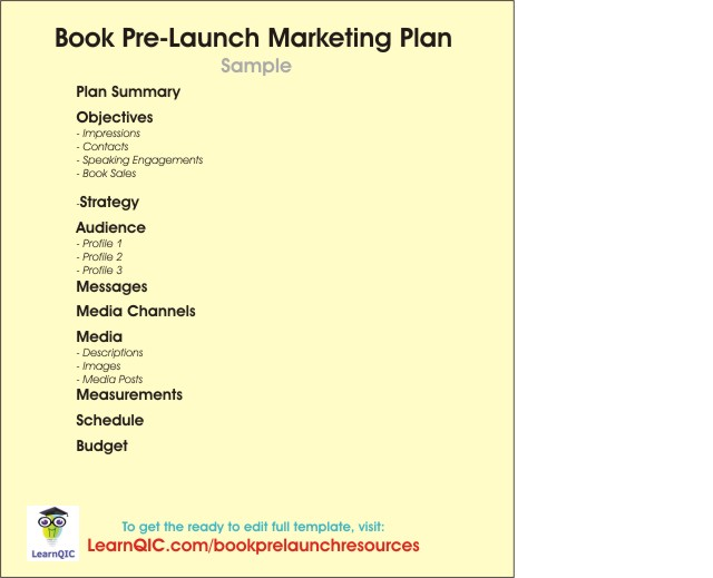 Book Pre-Launch Marketing Plan Sample