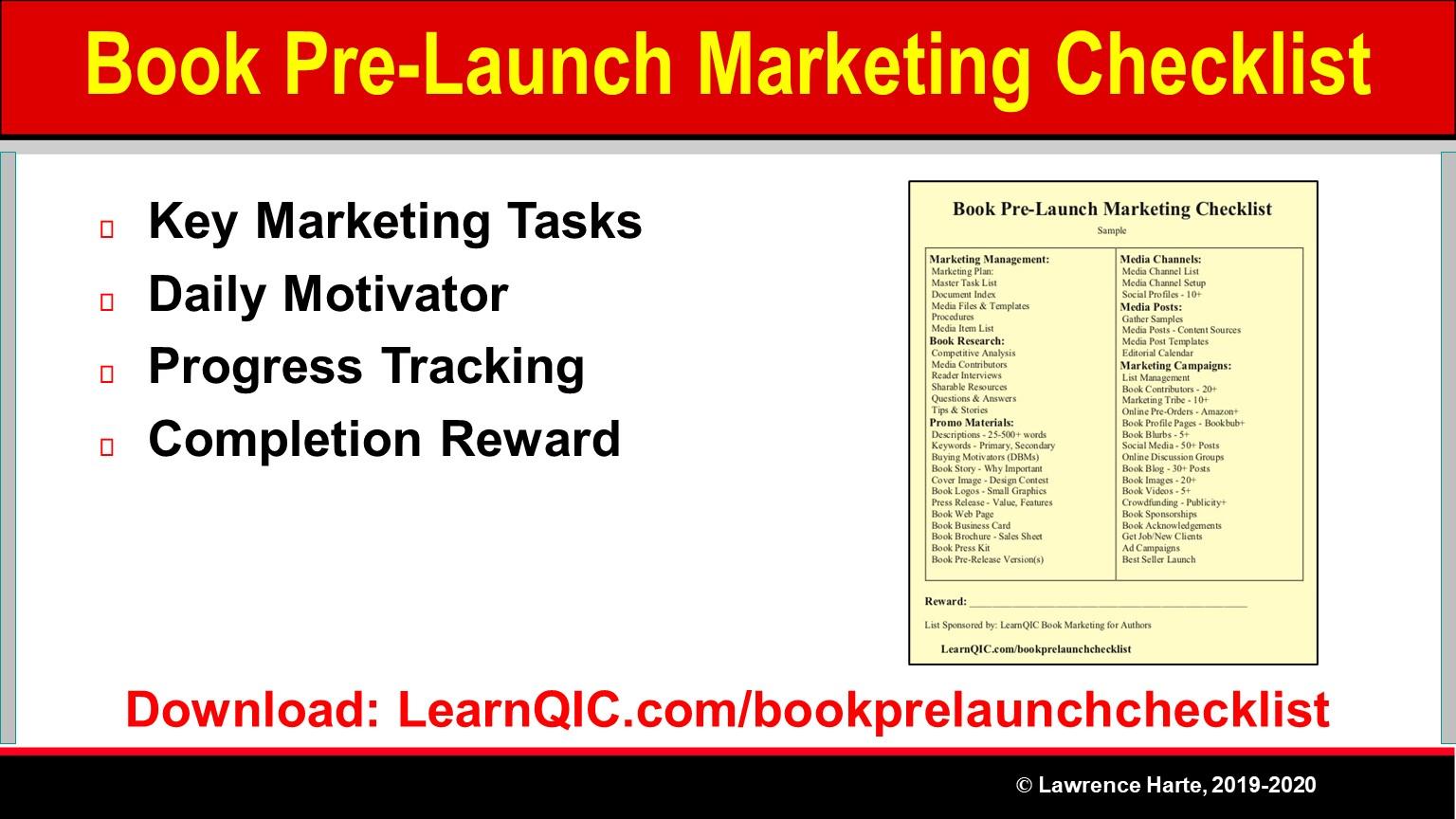 Book Pre-Launch Marketing Task Checklist